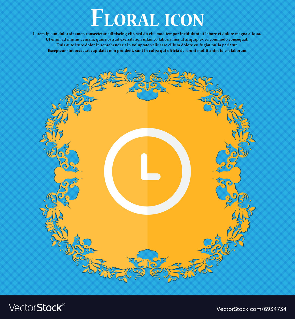 Clock icon Floral flat design on a blue abstract