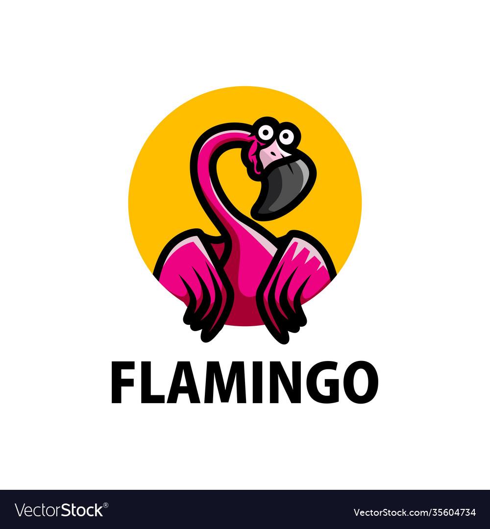 Cute flamingo cartoon logo icon