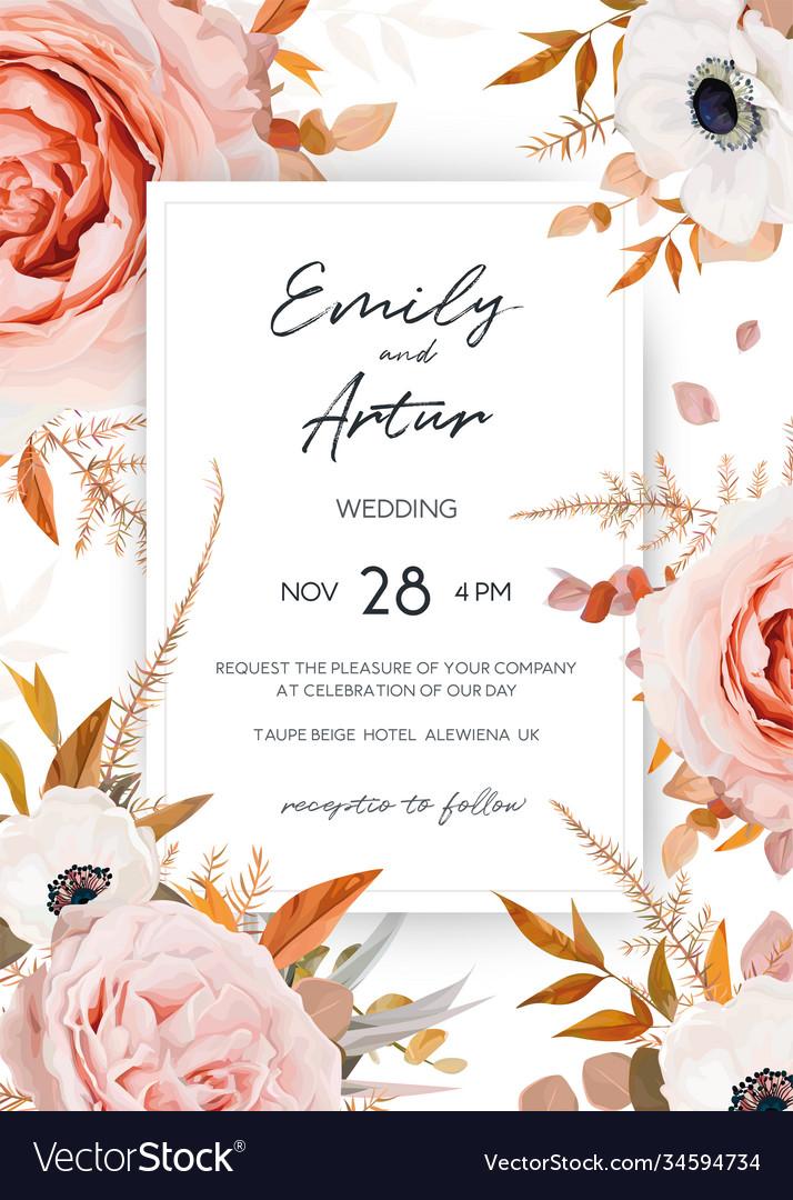 Elegant stylish fall floral wedding invite card