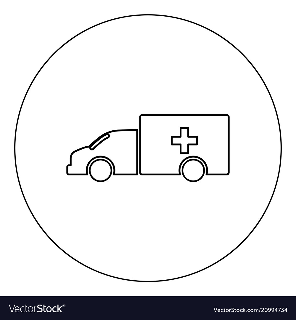 Emergency car icon black color in circle isolated