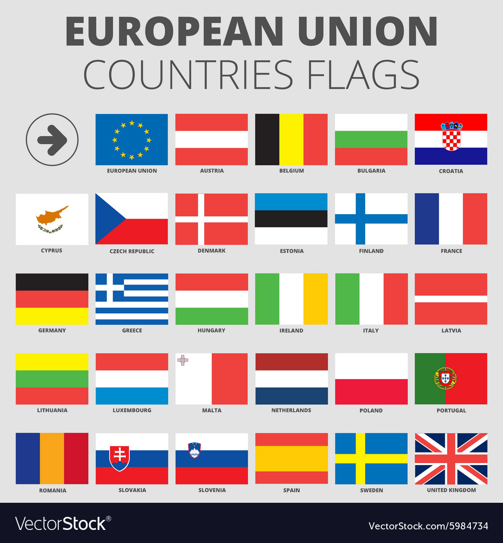 European Union Country Flags Royalty Free Vector Image
