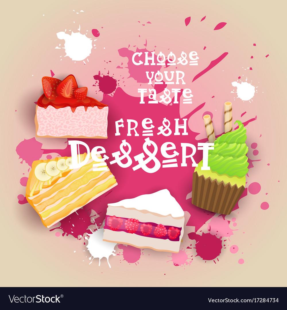 Fresh desserts set banner colorful cake sweet