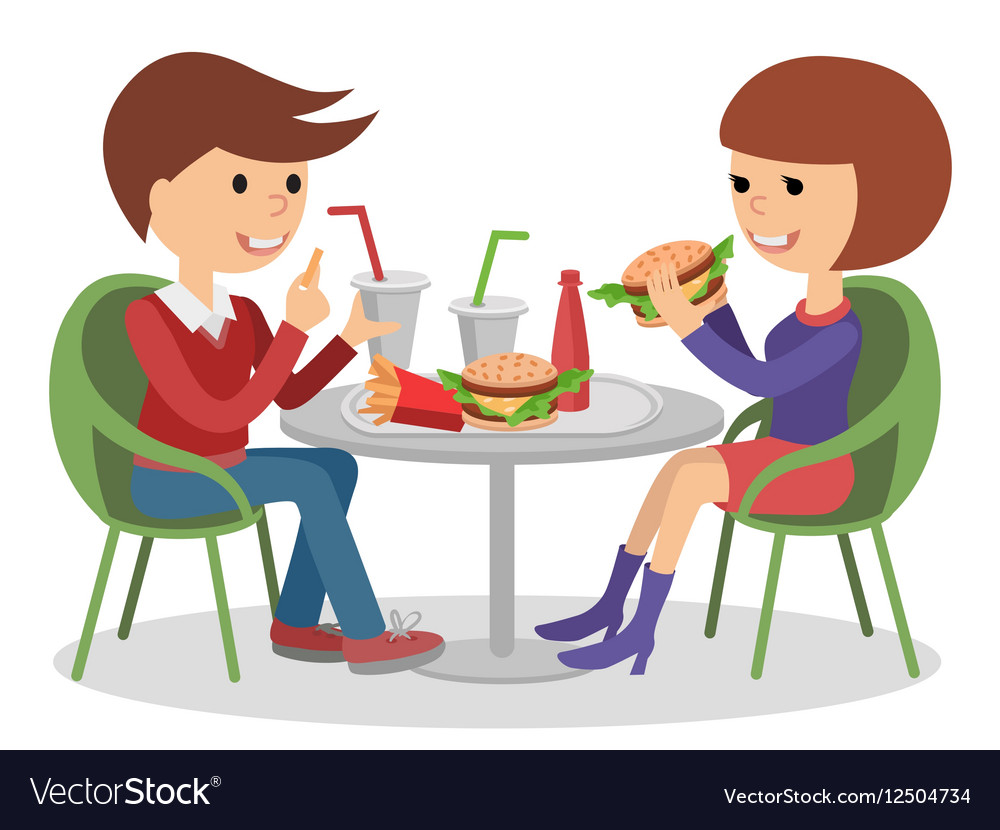 Girl And Boy Eating Fast Food Vector Image