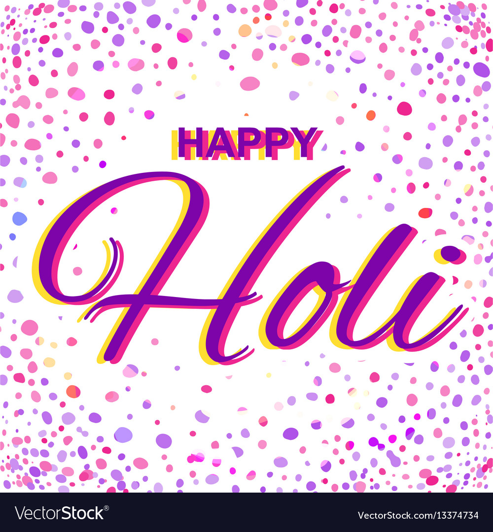 Greeting card for happy holi spring festival with