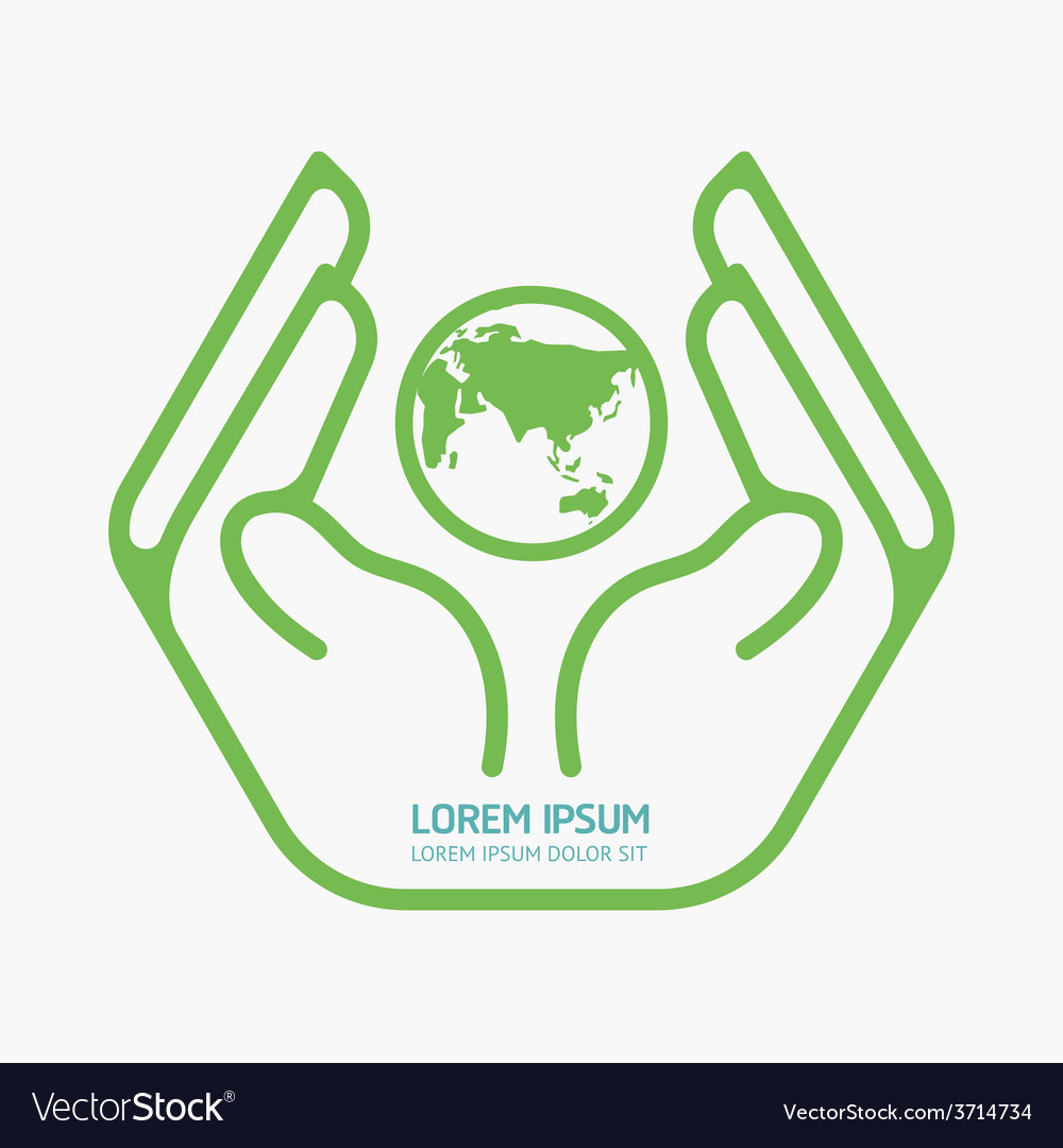 Hand Holding World Logo Design Safety Care Vector Image