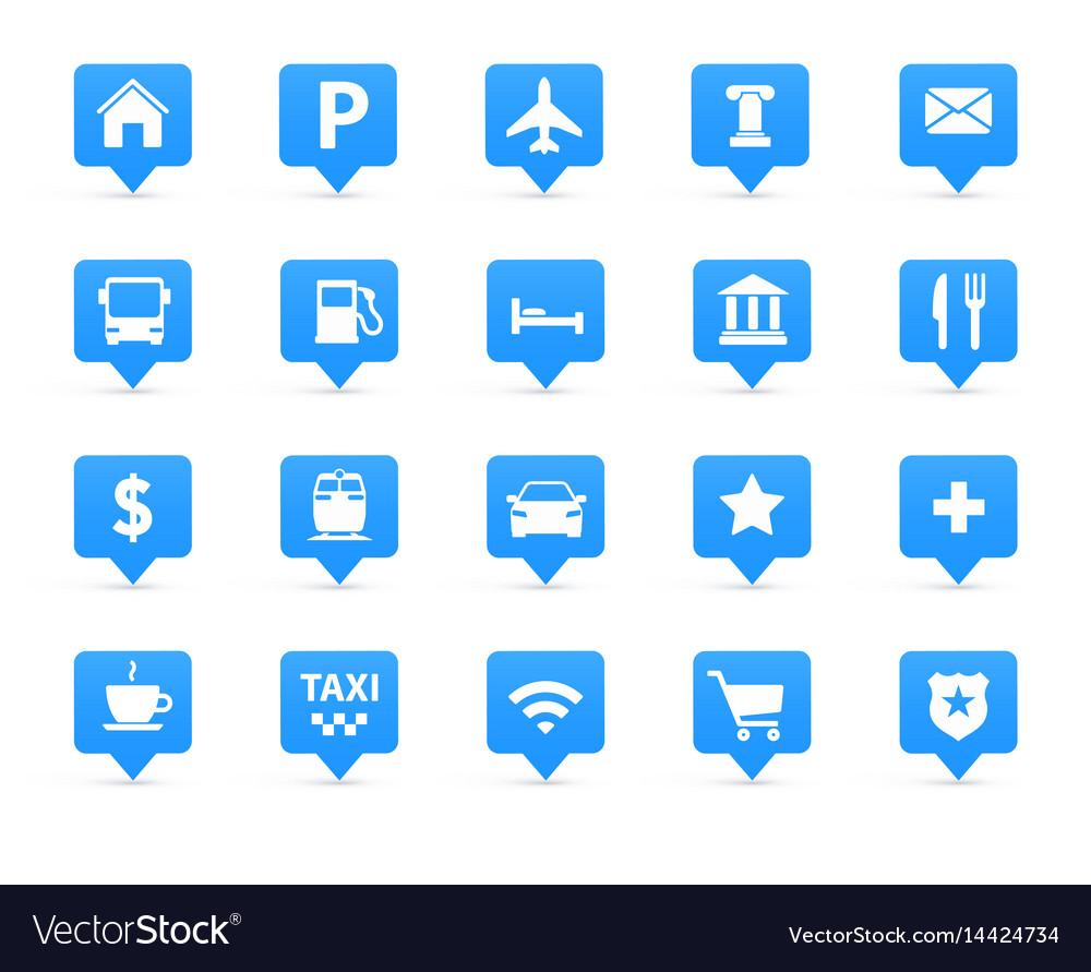 Navigation icons set vector image