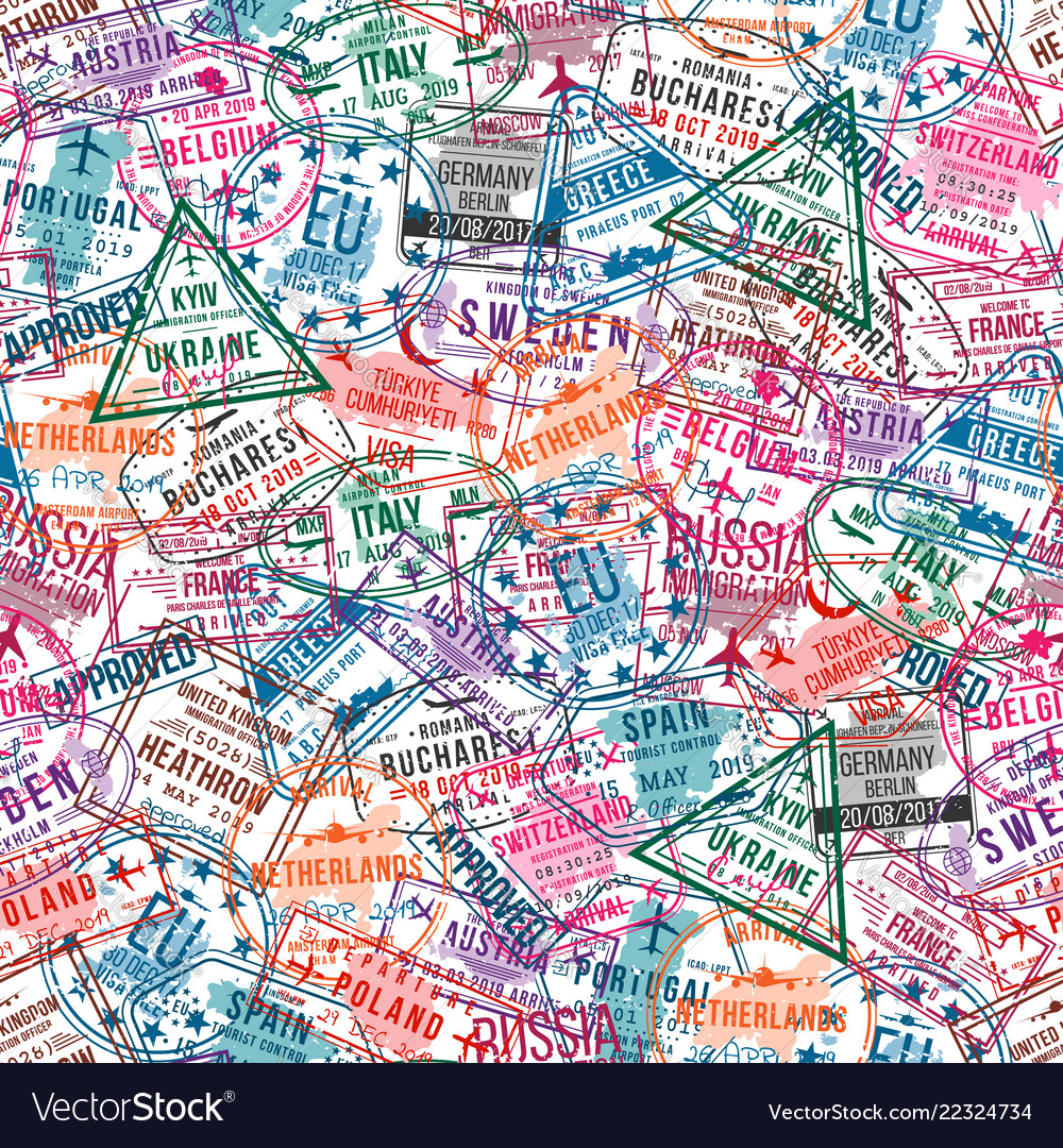 Passport visa stamps seamless pattern