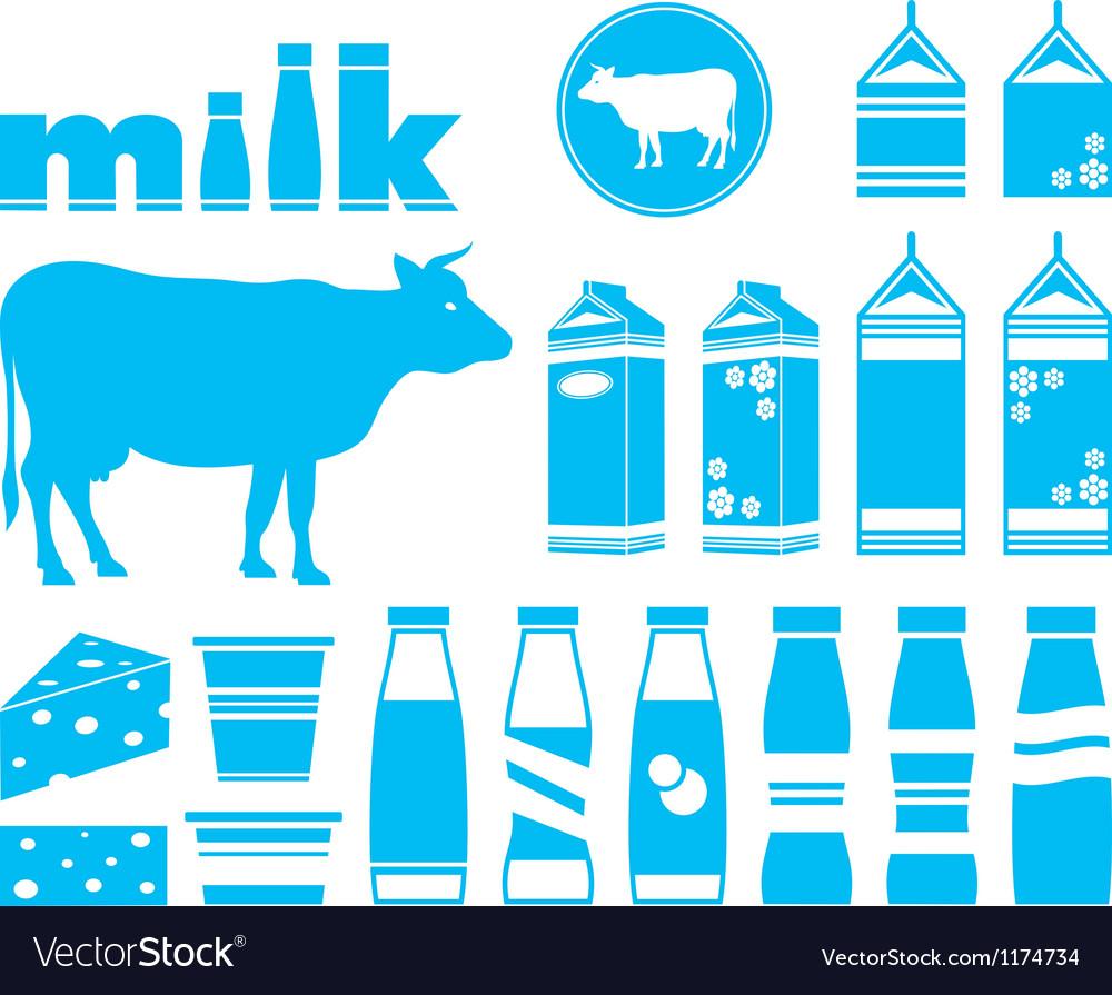 Set icons of milk