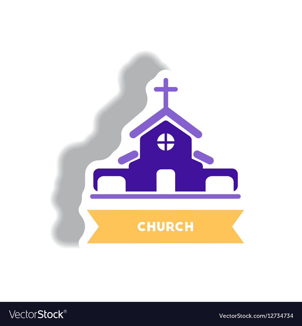 Church icon outline style