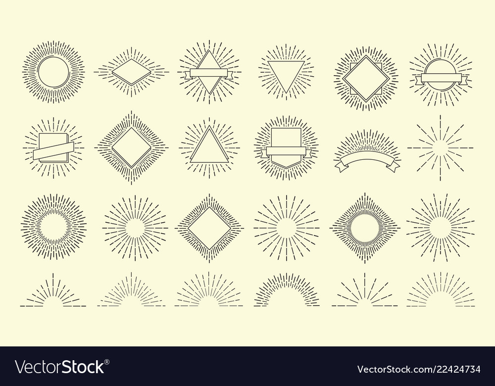 Sunburst set vintage burst radial emblem sunrise