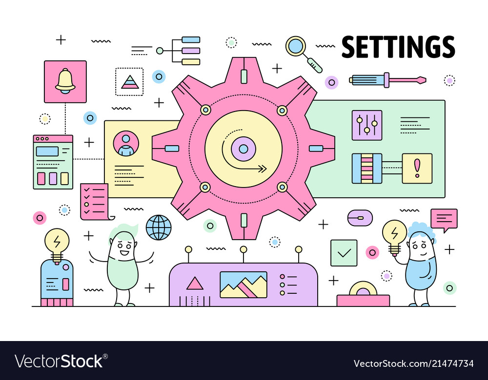 Thin line settings poster banner template