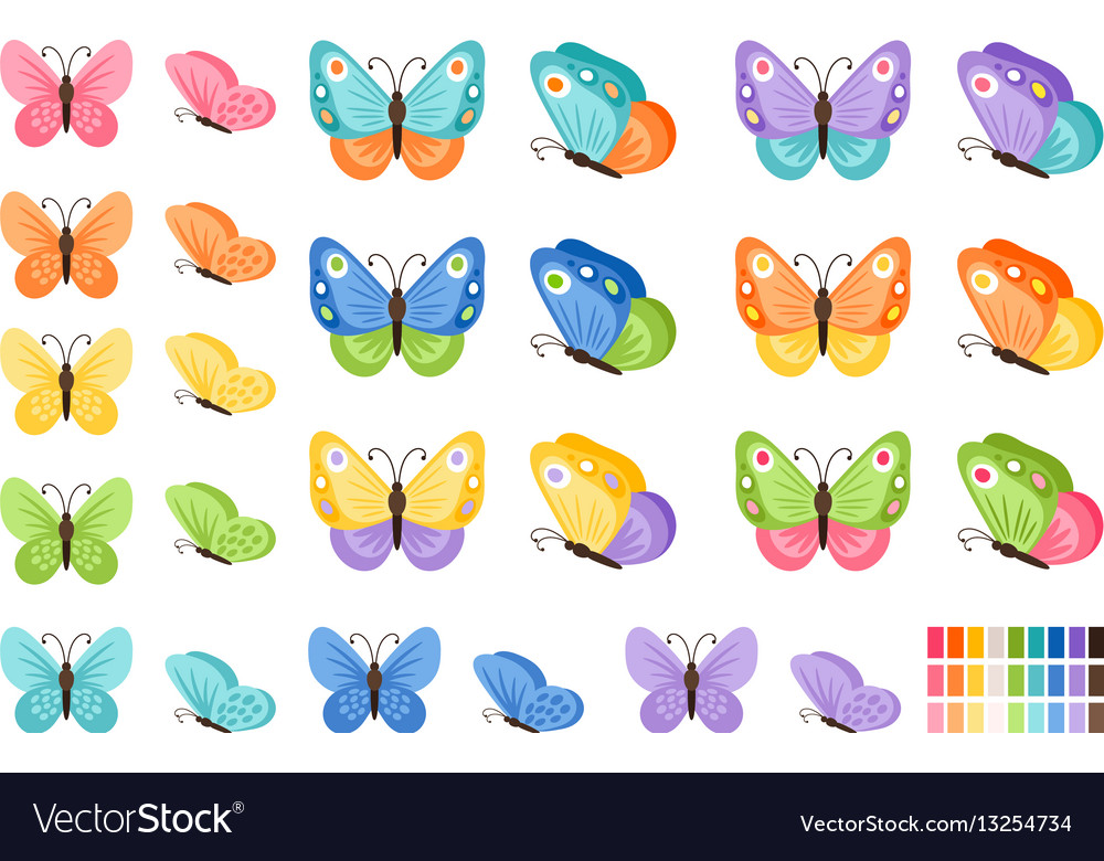 Watercolor butterflies icons vector image