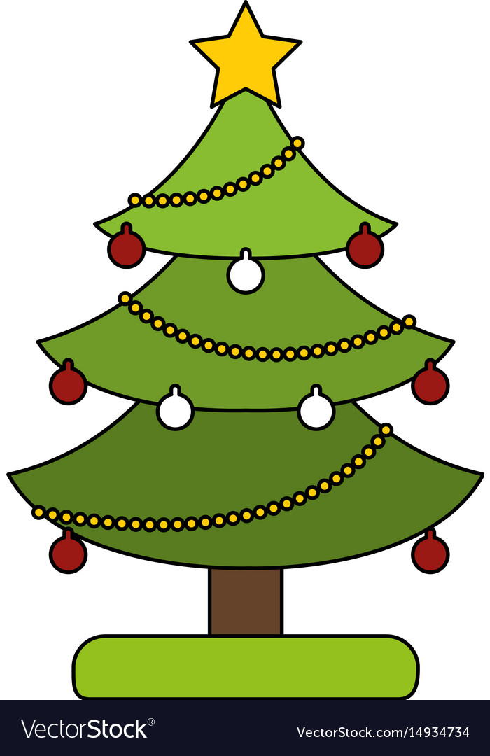 White background with decorated christmas tree