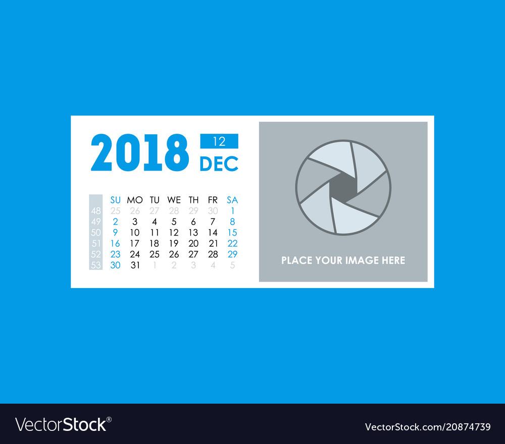 cartoon calendar event planner december 2018 vector image