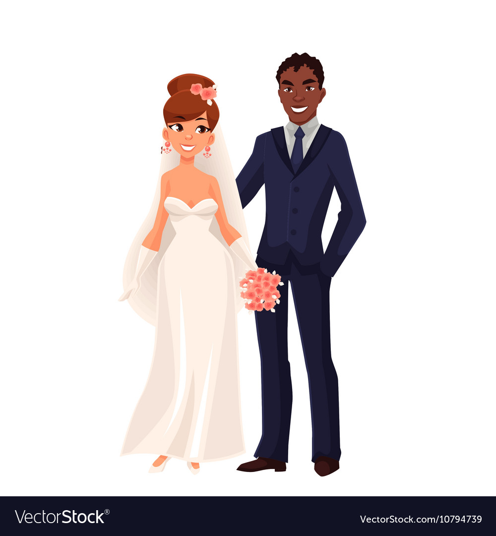 Caucasian bride and African groom just married