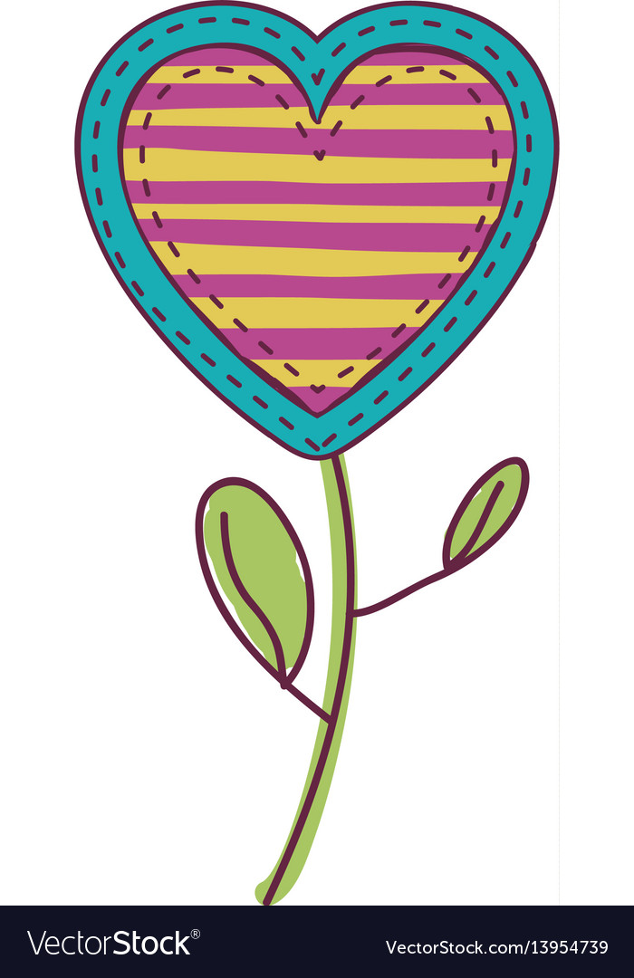 Colorful heart flower shape with lines pattern and