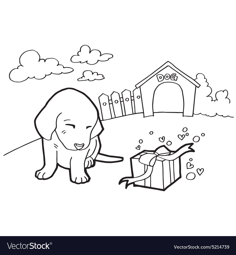 Coloring book with dogs and house