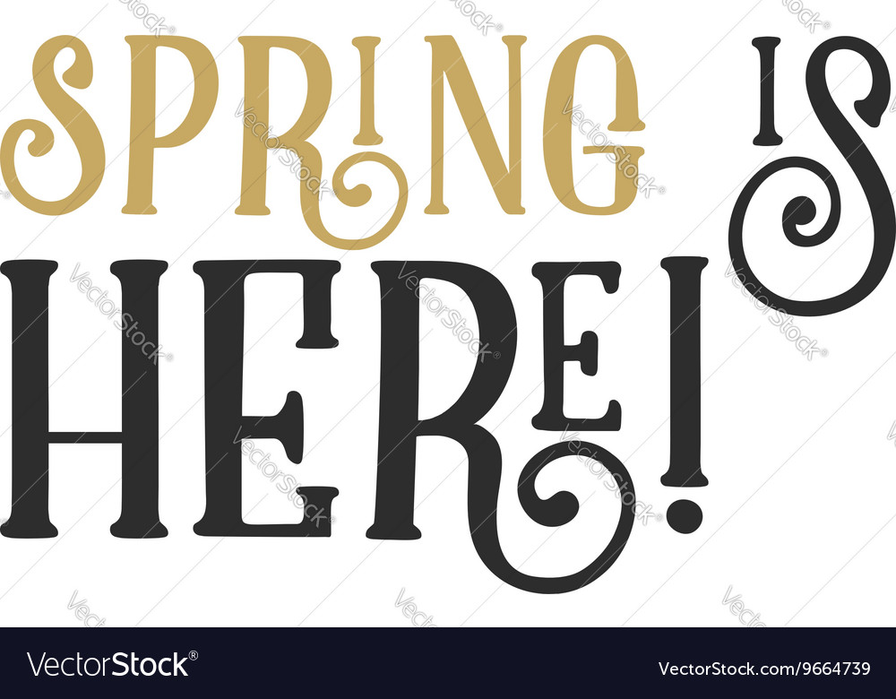 Easter spring sign - Spring is Here Easter wishes vector image