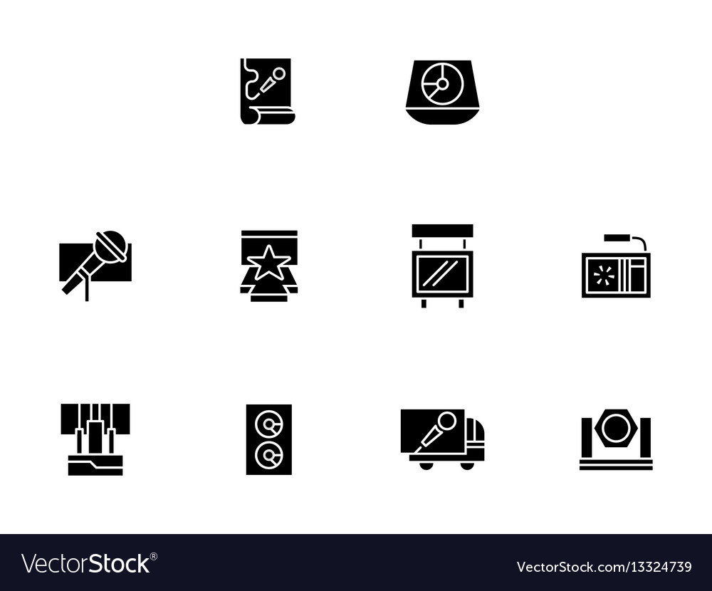 Equipment for show black glyph style icons vector image