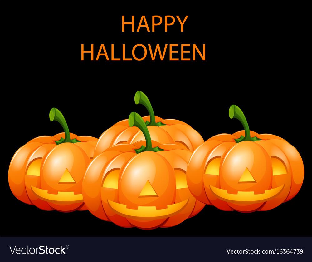 Happy halloween card with jack o lanterns