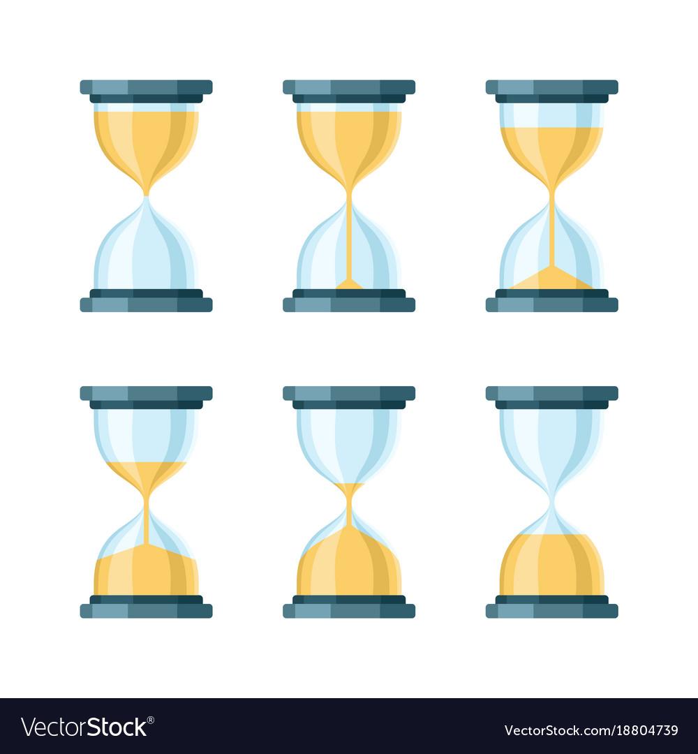 Hourglass modern icons set