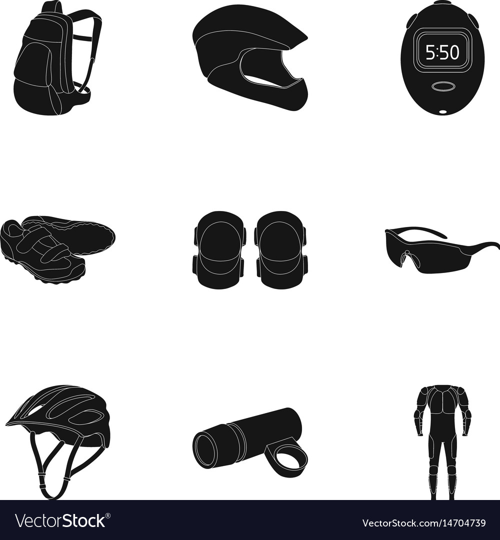 9a971a39278e Icons of cycling bike set for bike backpack Vector Image
