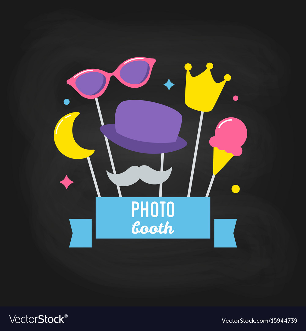 Photo booth props on chalkboard background vector image