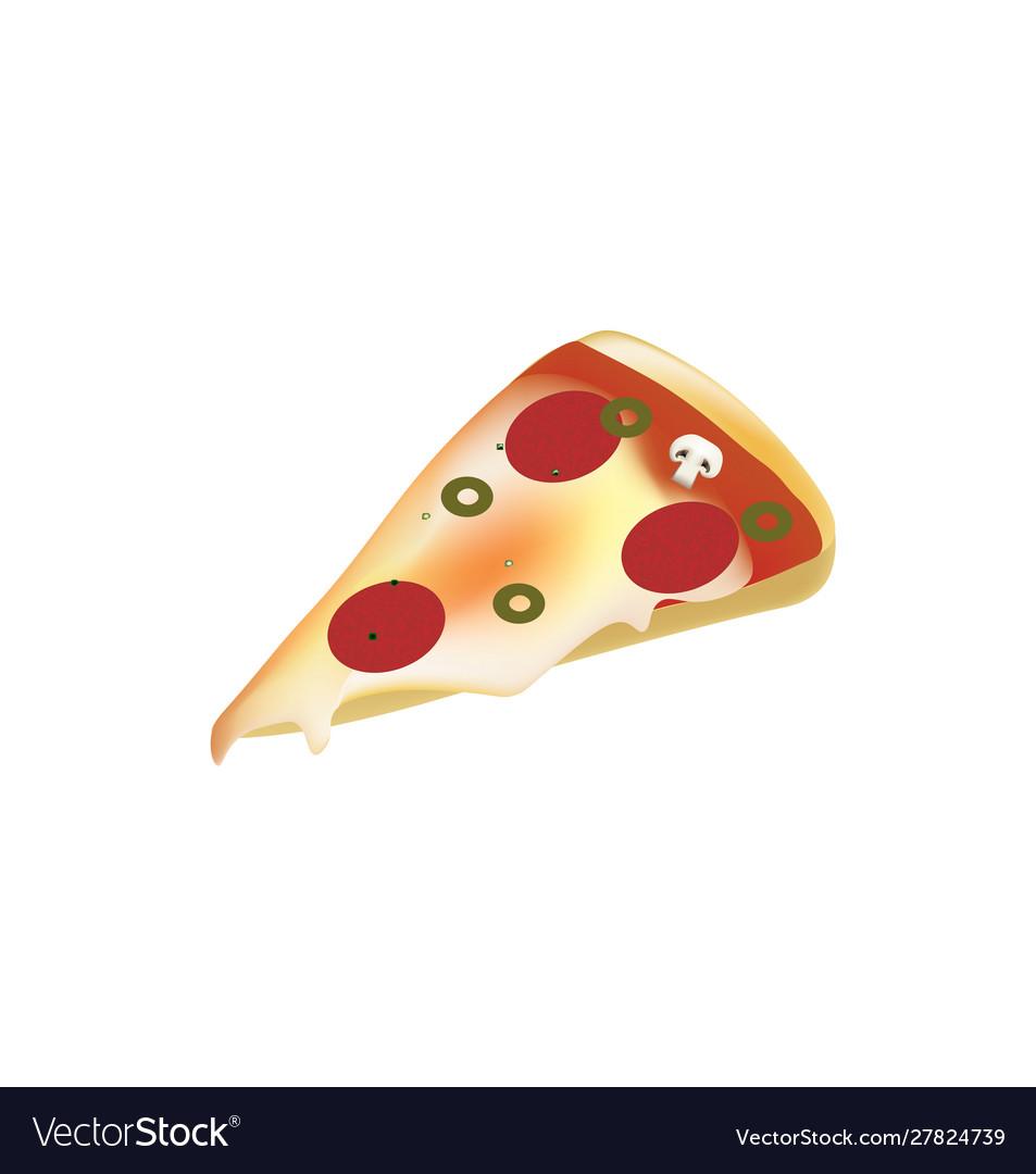 Pizza slice on white background