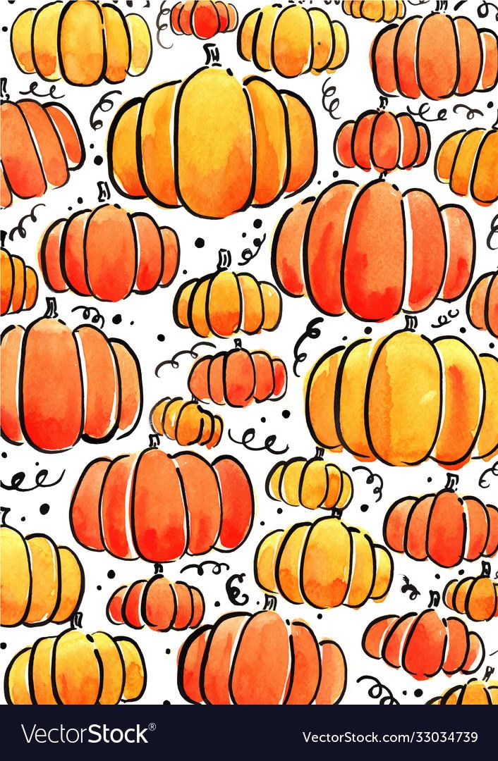 Pumpkin watercolor for halloween