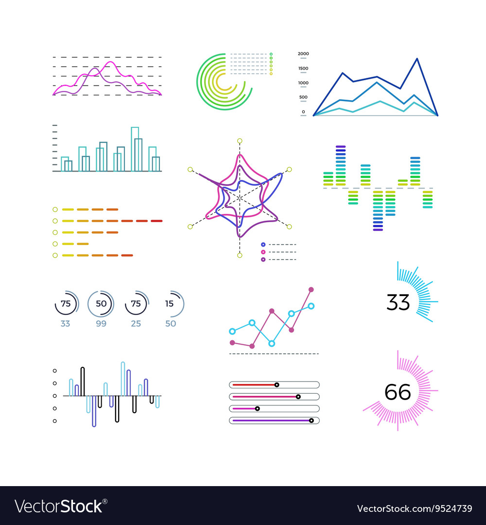 Thin line chart elements for infographic Outline