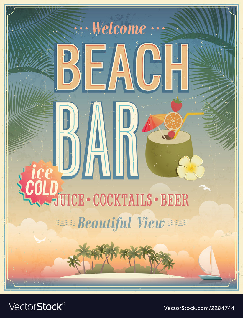 Beach bar sunset vector image