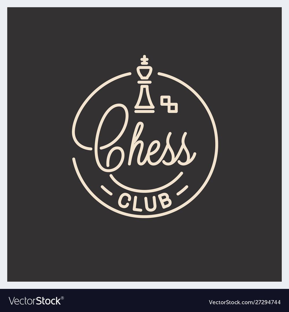 Chess club logo round linear logo chess king