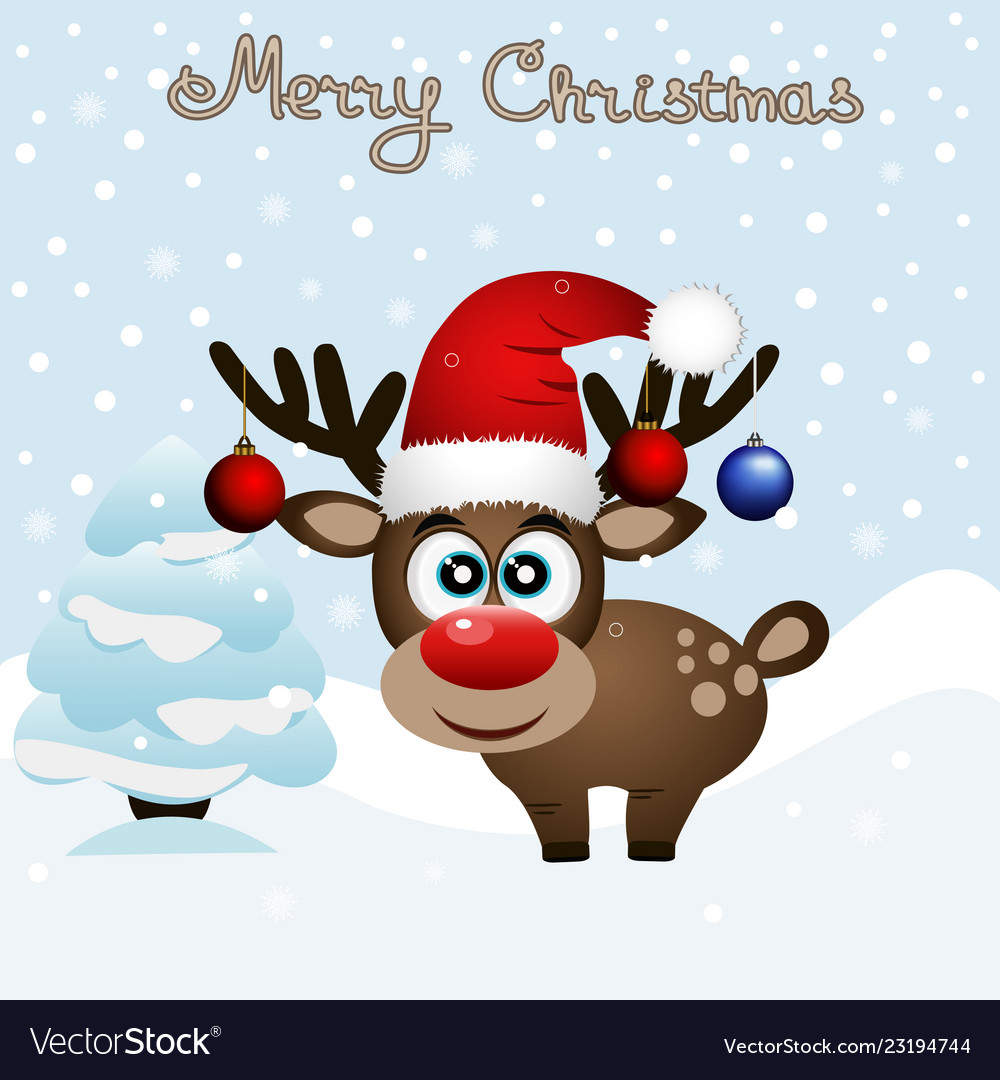 Christmas card funny card with a christmas deer