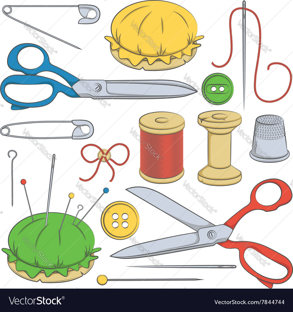 Color set of sewing supplies
