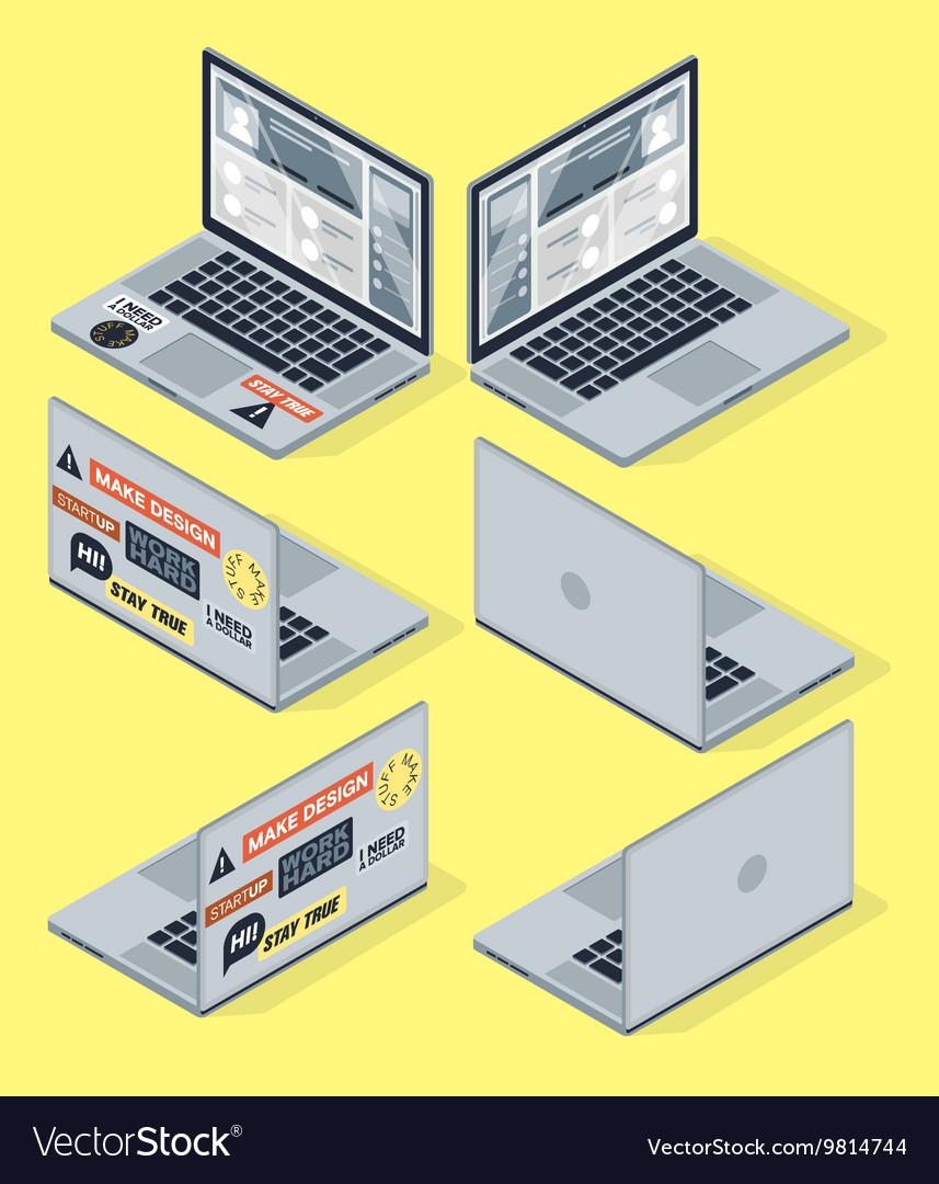 Isometric set of computer laptop 3d