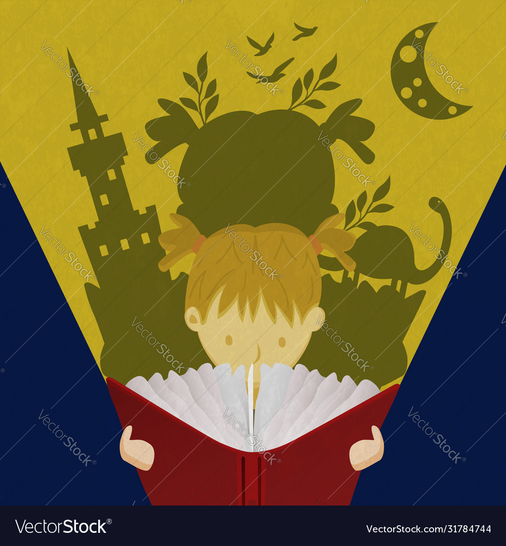 Little girl child reading fairy tale book concept