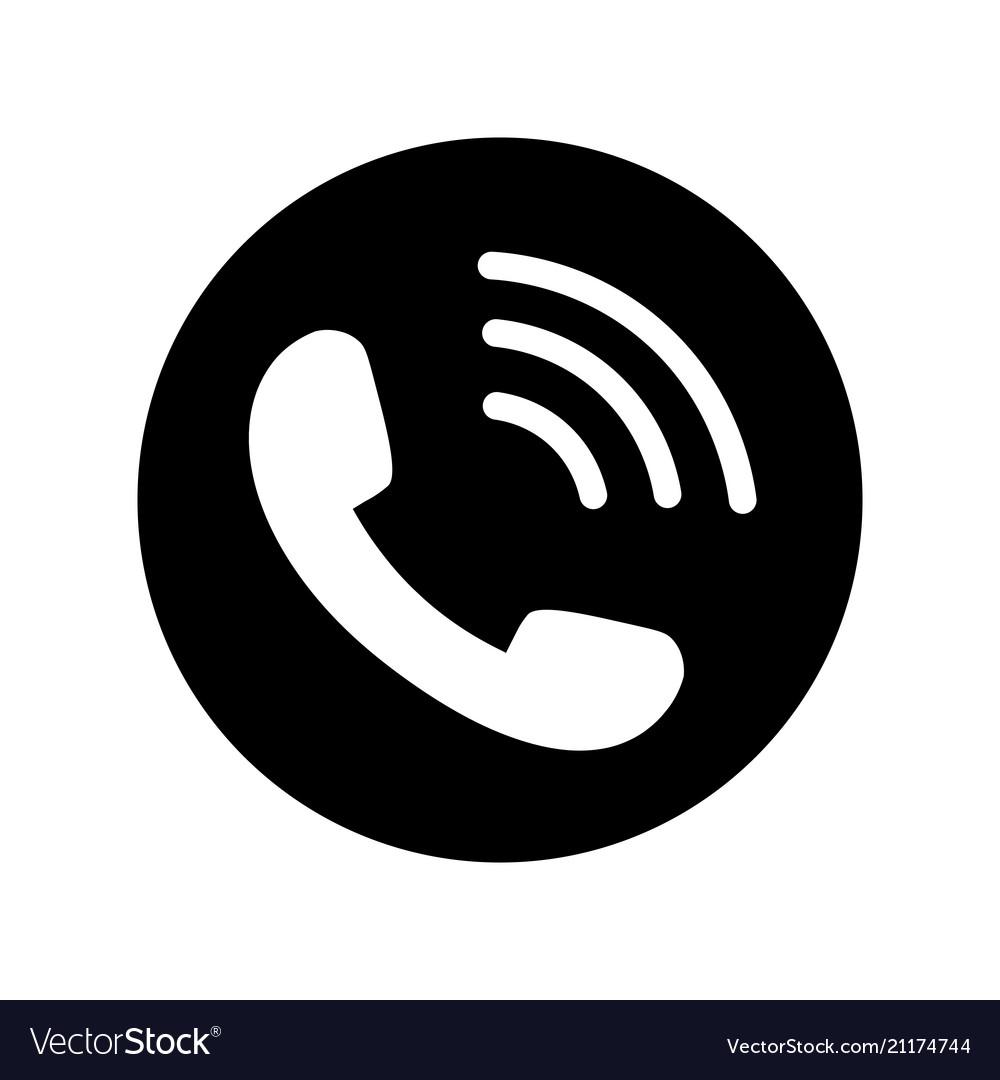 Phone icon in black circle telephone symbol