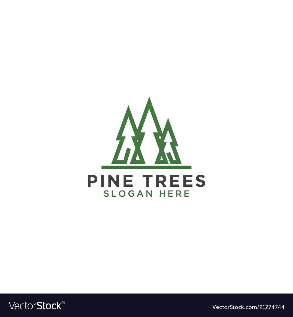 Pine tree line art logo design template