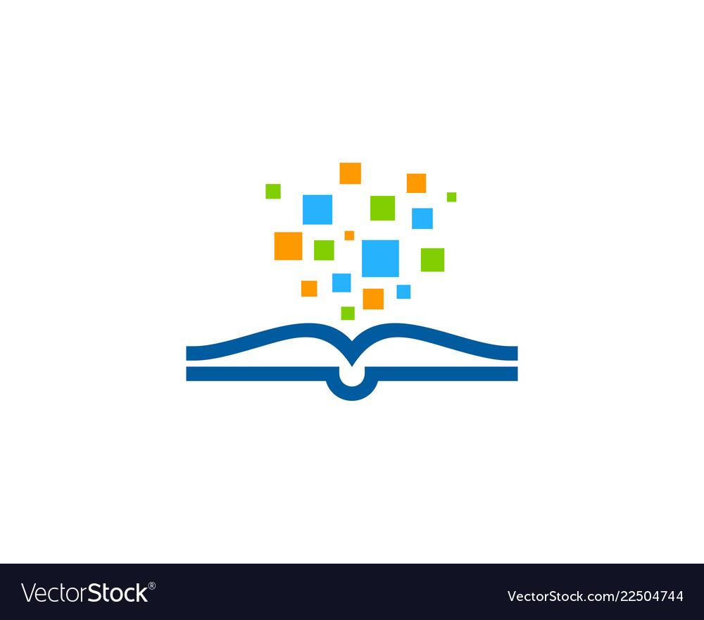Pixel art book logo icon design