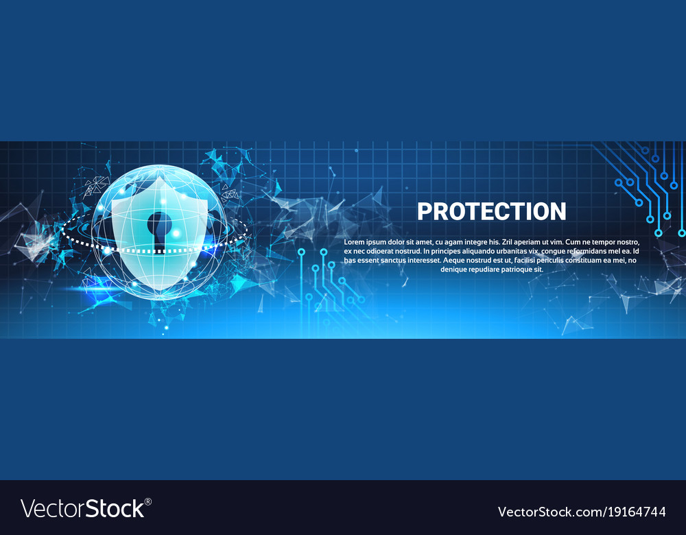 Protection shield blue polygons over binary code