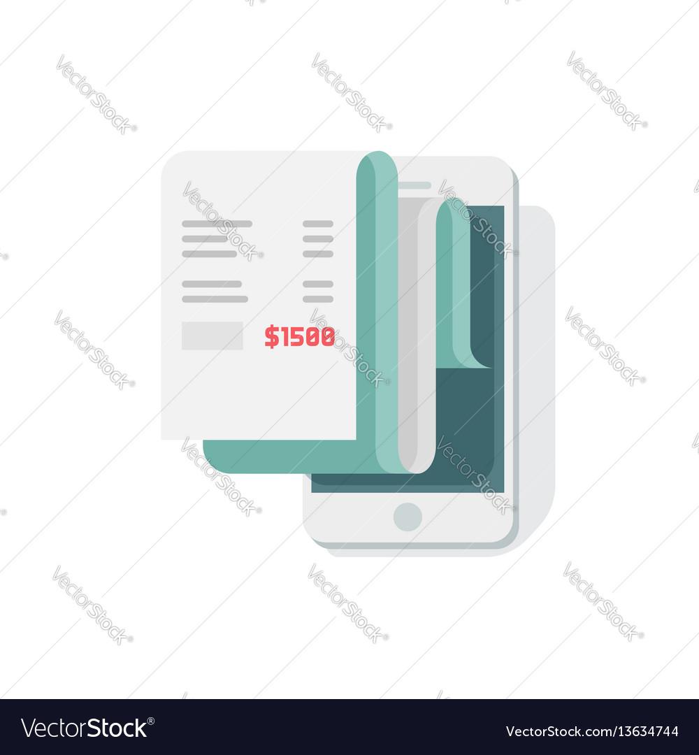 Receipt in smartphone flat