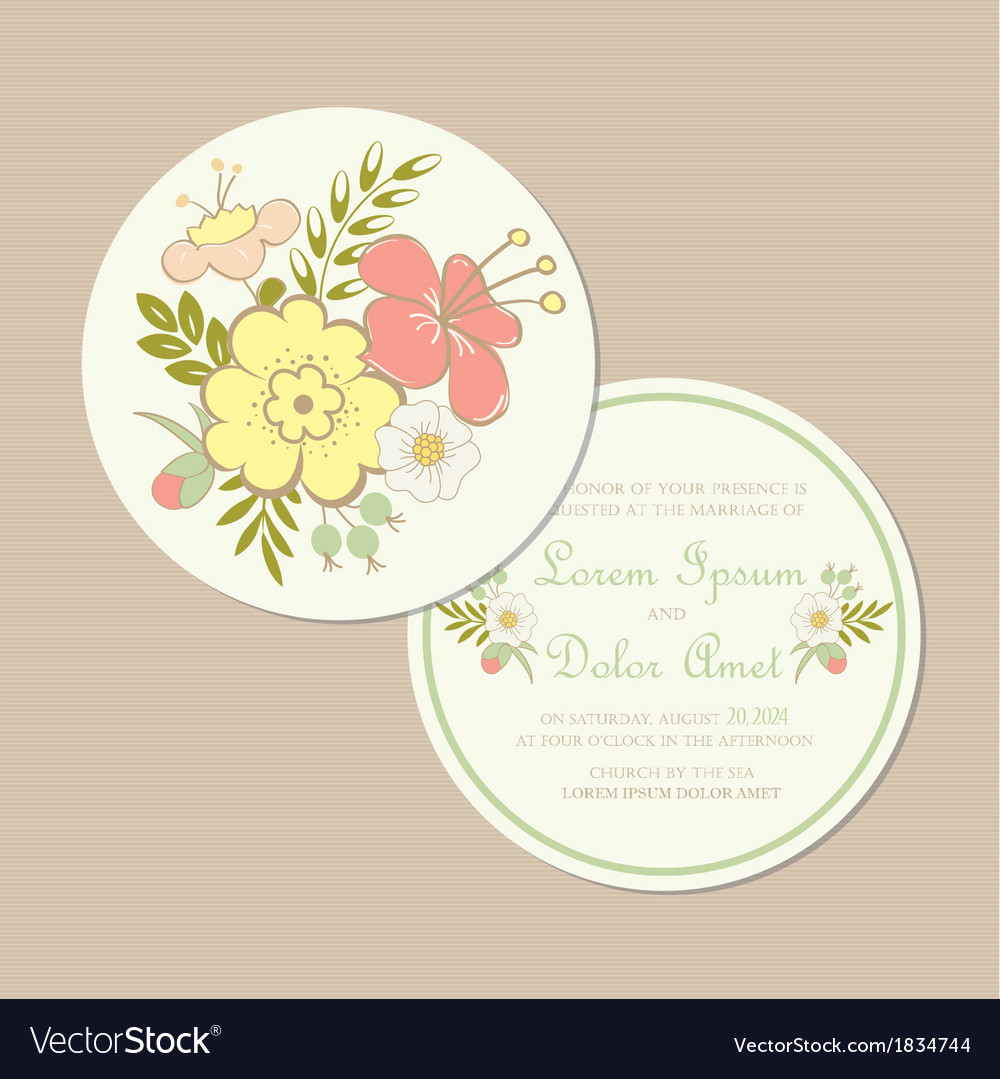 Round Spring Wedding Invitation Card Royalty Free Vector