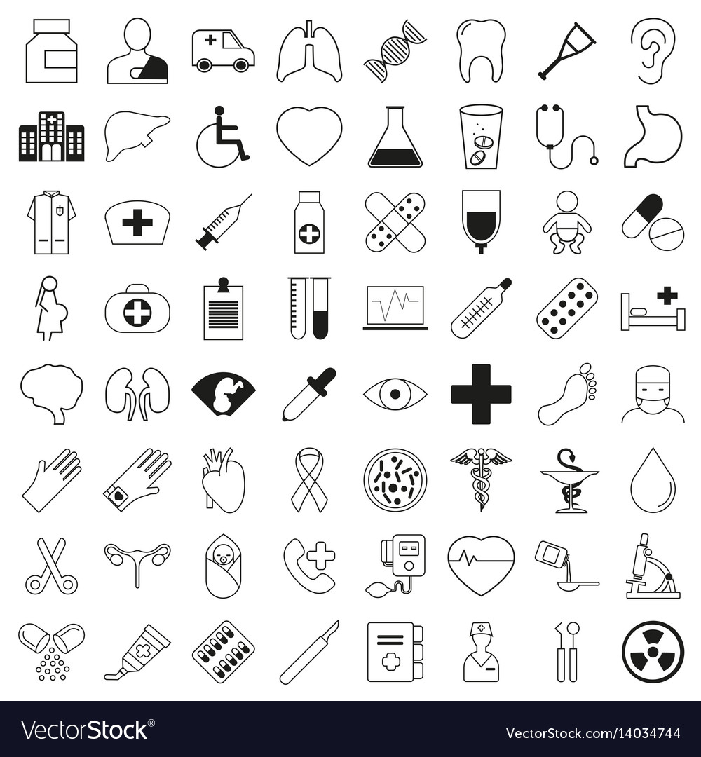 Set of 64 medical icons thin line style