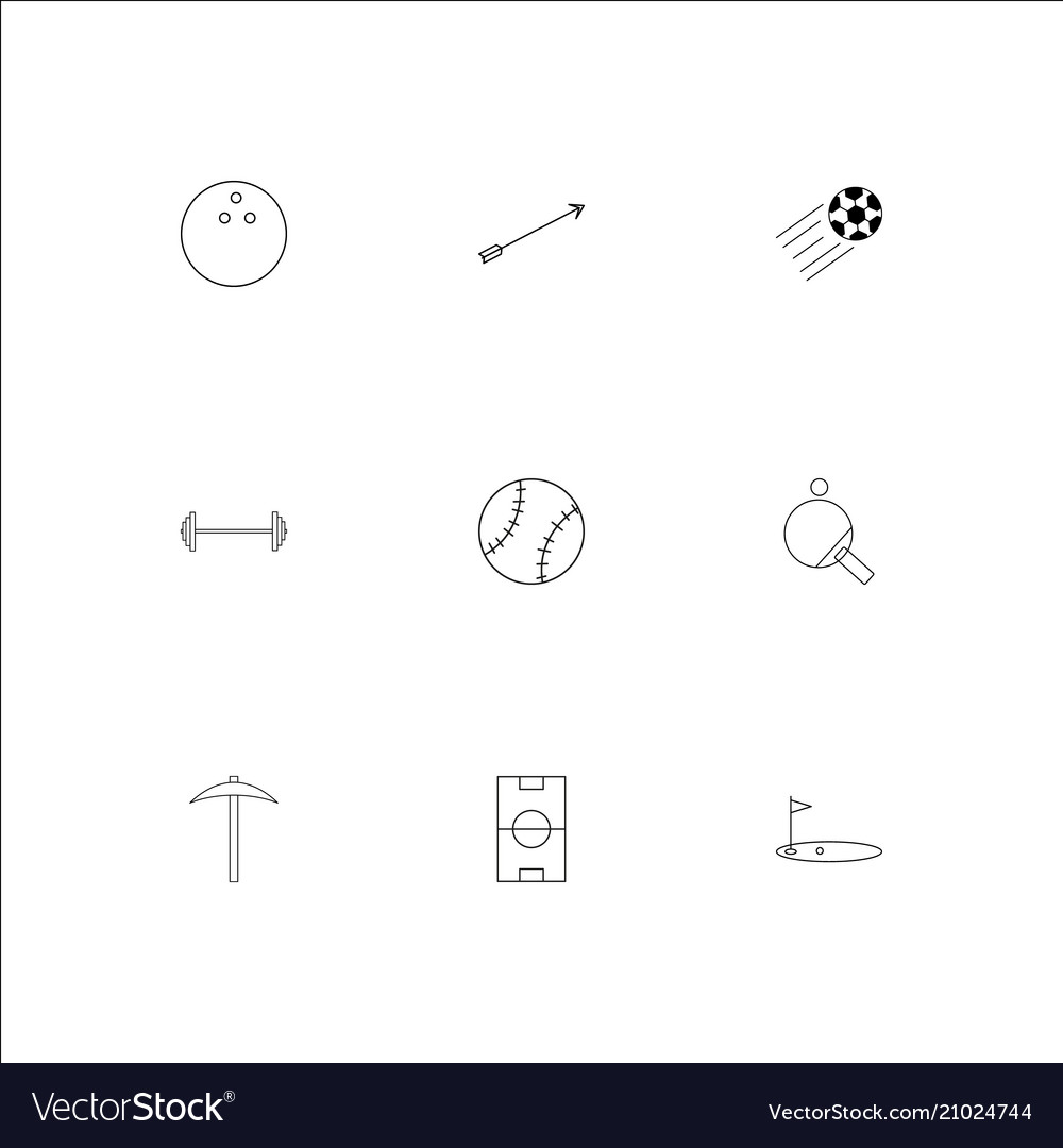 Sport and recreation outline icons set