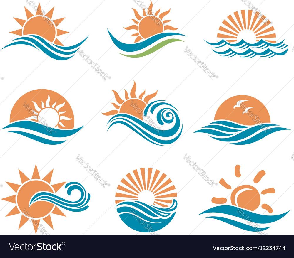 Sun and sea icons
