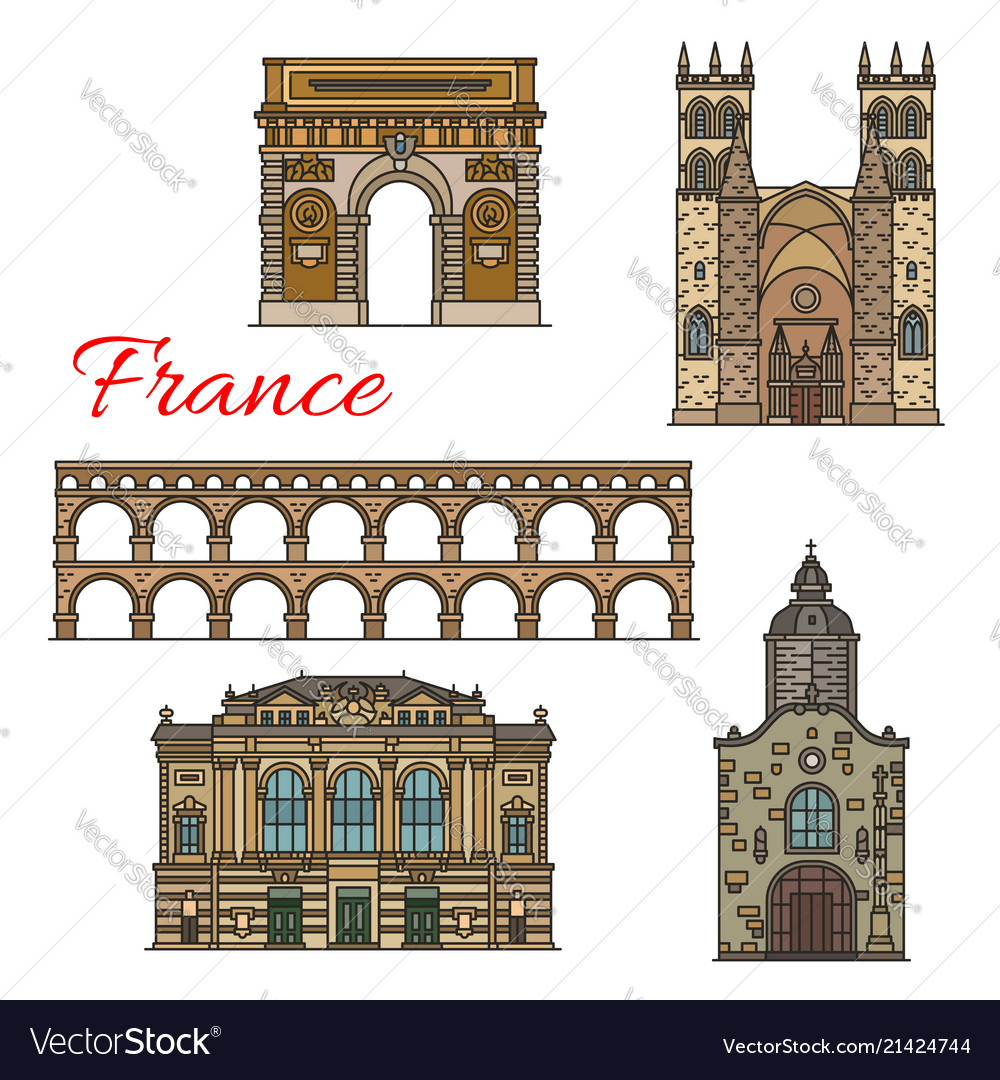 Tourist sights of france icons for travel design