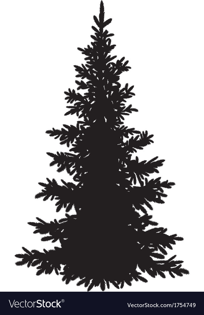Christmas Fir Tree Silhouette Royalty Free Vector Image