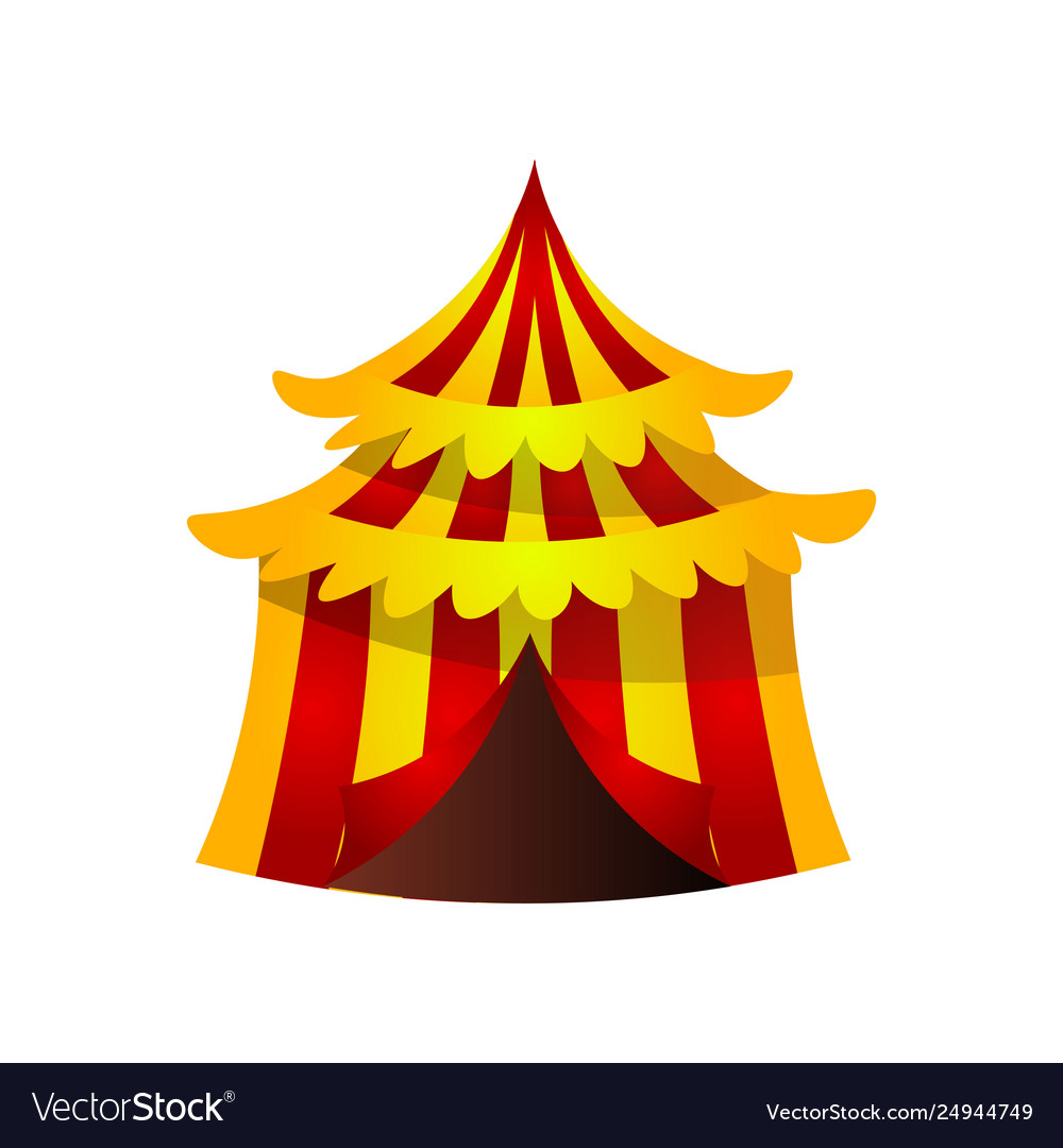 Circus striped tent with red yellow color and gold