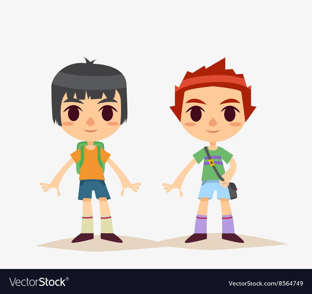 Cute Cartoon kids isolated Boy