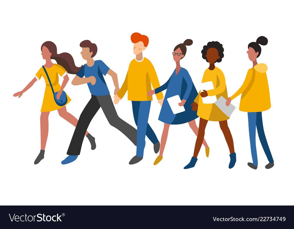Flat infographics of walking women and men